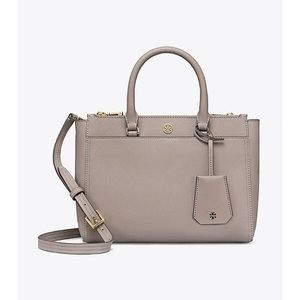 Tory Burch Robinson Gray Small Double-zip Tote